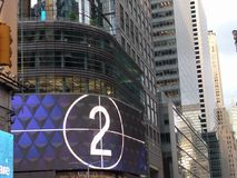 Big screen with two number slide. Big Screen on Time Square Manhatan& x27;s corner show a countdown sliding numbers stock image