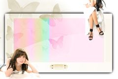 Big screen and two girls Royalty Free Stock Photos