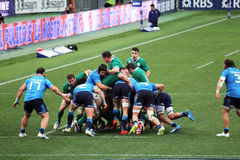 Big scrum. A big scrum during the rbs 6 rugby match italy vs ireland at rome.7/2/2015 Royalty Free Stock Photo
