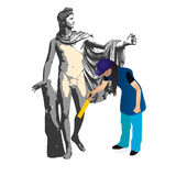The god Apollo and woman cleaner. Big sculpture og the god Apollo and woman cleaner vector illustration