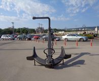 The big sea anchor in Varna port stock photography