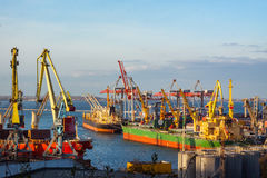 big sea port with cranes and ships Stock Photos