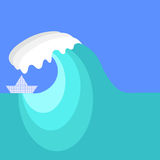Big Sea Wave and Paper Ship Royalty Free Stock Images