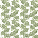 Big seamless decorative pattern of hop cones Royalty Free Stock Image