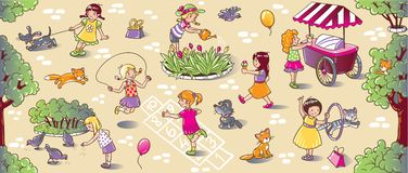 Big seamless pattern with playing girls Royalty Free Stock Images