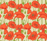 Big seamless pattern of red poppies Royalty Free Stock Photo