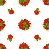Big seamless pattern of a romantic bouquet of red roses Stock Images