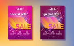 Big seasonal sale. Sale in 3d with a gradient. Abstract colored gradients background. Vertical poster design for print or web, med. Ia, promotional material Royalty Free Stock Photos