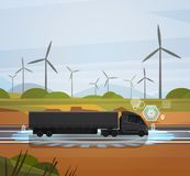 Big Semi Truck Trailer Driving Over Field With Wind Turbines Landscape. Big Semi Truck Trailer Driving Over Field With Wind Trubines Landscape Vector Royalty Free Stock Photo