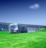 Big semi truck transport on highway Stock Images