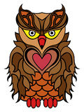 Big serious brown owl. Big serious owl mainly in brown colours isolated on a white background, cartoon vector illustration Royalty Free Stock Photography