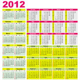 Big set of 2012 calendars. Different types (Starts Sunday)With space for your text Royalty Free Stock Photos