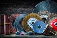 Big set of abrasive tools on vintage wood background royalty free stock photo