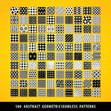 Big set of abstract geometric seamless patterns. Stock Photo