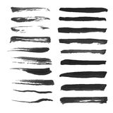 Big set of abstract thin strokes black ink on white Stock Photos