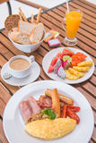 Big set of american breakfast and mix fruits Royalty Free Stock Photo