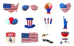 Big Set of American Independence Day Icon. Happy 4 th July. Cartoon Vector illustration.  stock illustration