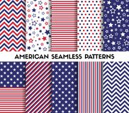Big set of american style vector seamless patterns. Stars, stripes, chevron Royalty Free Stock Photos