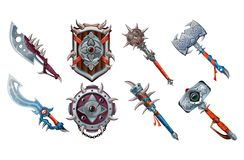 Big set of ancient weapon elements for games. Vector game set isolated on white background.  vector illustration