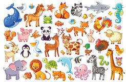 Big  set of animals. Collection of cute animals in cartoon style Stock Images