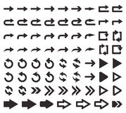 Big set of arrows. Vector illustration. Perfect pixel. Big set of arrow icons. The direction arrow. Design element for your web design, interfaces, menu Royalty Free Stock Images