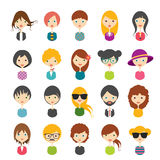 Big set of avatars profile pictures flat icons. Royalty Free Stock Photo