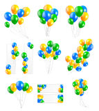 Big Set of  Balloons in Brazil Flag Colors, Vector Illustration Stock Images