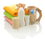 Big set of bathing accessories Stock Photo