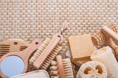 Big set of bathroom accessories on wicker Stock Photo