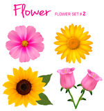 Big set of beautiful colorful flowers. Stock Photography