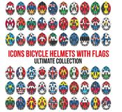 Big set of Bicycle mountain bike helmet with flags Royalty Free Stock Photo