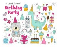Big set of birthday party vector clip arts. stock illustration