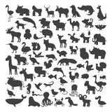 Big set of black animals silhouettes in cartoon style. Wild life Stock Photography
