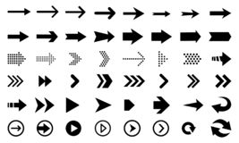Big set of black arrows and direction pointers royalty free illustration