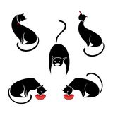 Big set of the black cats. Royalty Free Stock Photo