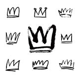 Big Set of black drawn crowns and icons. Stock Photo