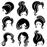 Big set of black hair styling for woman Stock Photo