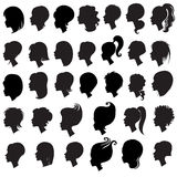 Big set of black hair styling for woman Royalty Free Stock Photography