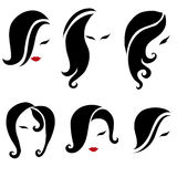 Big set of black hair styling for woman Stock Photos