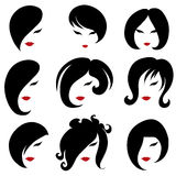 Big set of black hair styling for woman Royalty Free Stock Images