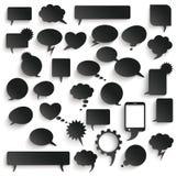 Big Set Black Paper Communication Bubbles Shadows Stock Photography