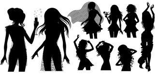 Big set of black silhouette of woman Stock Photos