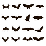 Big set of black silhouettes bats. Vector illustration for halloween Royalty Free Stock Photos
