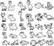 Big set of black and white cartoon, vector royalty free illustration