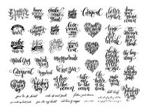Big set of black and white handwritten lettering positive Stock Photos