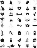 Big set of black and white Spa icons. Royalty Free Stock Image