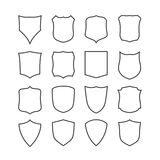 Big set of blank, classic shields, templates Stock Image