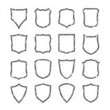 Big set of blank, grunge, classic shields Stock Photo