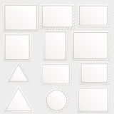 Big set of blank postage stamps. Different geometric shapes Stock Images