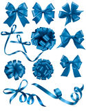 Big set of blue gift bows with ribbons. Stock Image
